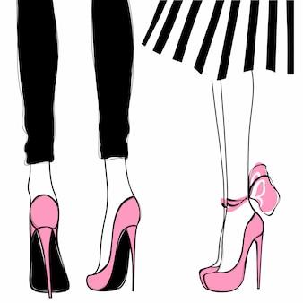 Vektormädchen in den hohen absätzen. modeillustration. weibliche beine