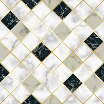 Vektormarmor nahtloses muster mit goldenen geometrischen diagonalen linien
