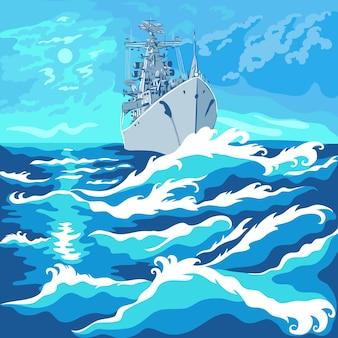 Vektormeerlandschaft mit einem kriegsschiff