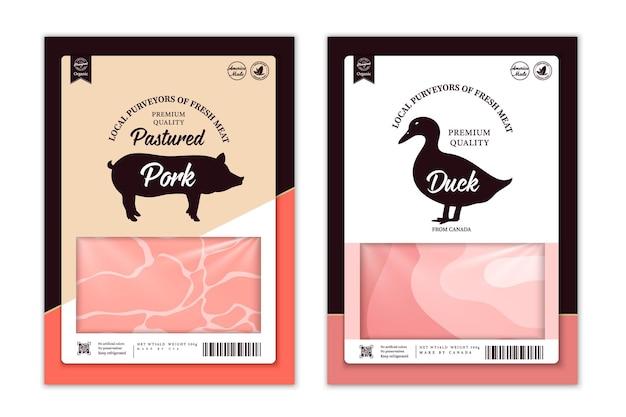 Vektormetzgerei-etiketten mit nutztier-silhouetten. kuh-, hühnchen-, schweine-, lamm-truthahn- und entensymbole und fleischtexturen für lebensmittel, fleischgeschäfte, verpackung und werbung