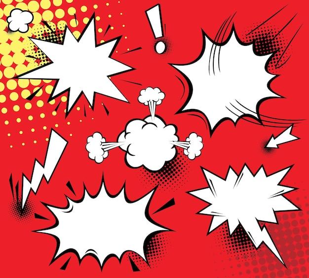 Vektormodell einer typischen comicbuchseite mit verschiedenen sprechblasen