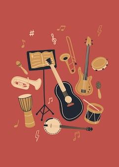 Vektormusikdesign mit musikinstrumenten und musikausrüstung. cartoon-doodle-illustration für einladung, karte, poster, druck oder flyer.