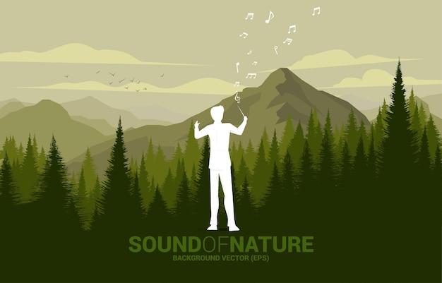 Vektormusikorchesterleiter mit grünem wald und großem berg. hintergrundkonzept für musik für natur- und frühlingszeit.