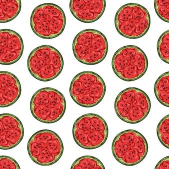 Vektormuster der wassermelone in der skizzenart.