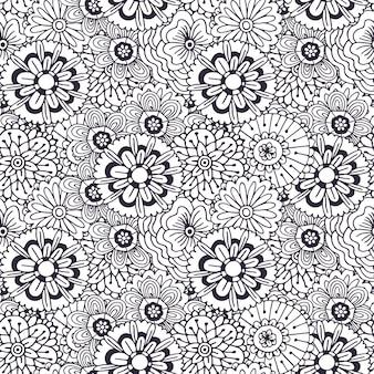 Vektormuster mit abstrakter blumenverzierung. adult malbuch seite. zentangle nahtloses design