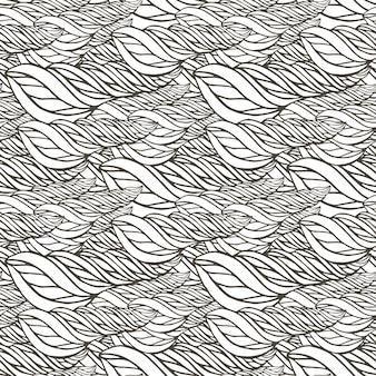 Vektormuster mit abstrakter wellenverzierung. adult malbuch seite. zentangle nahtloses design.