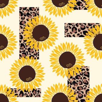 Vektormuster mit gelben sonnenblumen auf einem gelb mit leopardenmuster auf weißem hintergrund.