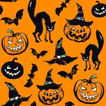 Vektormuster mit katzen und kürbissen auf einem orangefarbenen hintergrund.