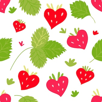 Vektormuster mit roten erdbeerbeeren und grünen blättern. beeren zum bedrucken von stoffen.