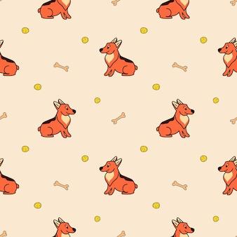 Vektormuster mit süßen corgi-hunden, einem ball und einem knochen im cartoon-stil auf beigem hintergrund
