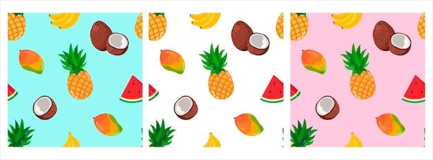 Vektormuster mit tropischen früchten bananen-ananas-mango-wassermelonen-muster für t-shirts