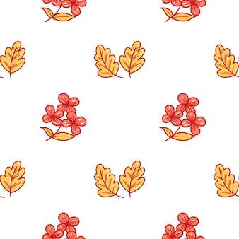 Vektormuster mit zwei gelben eichenblättern ein isoliertes element auf weißem hintergrund in einem cartoon