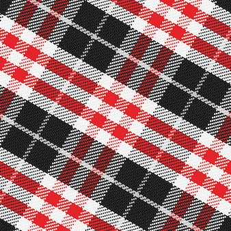 Vektormuster scottish tartan 3, schwarz, weiß, grau, rot