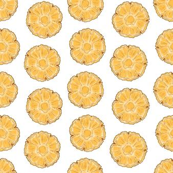 Vektormuster von ananas in der skizzenart.