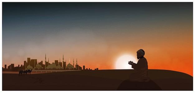 Vektornacht oder dämmerungsszene der arabischen wüste. vektor der moschee, staub, sand, wüste, kamele, gebet betet zum gott in ramadan celebration-monat.