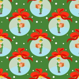 Vektornahtloser hintergrund mit einem weihnachtself in einer weihnachtskugel und einer geschenkbox