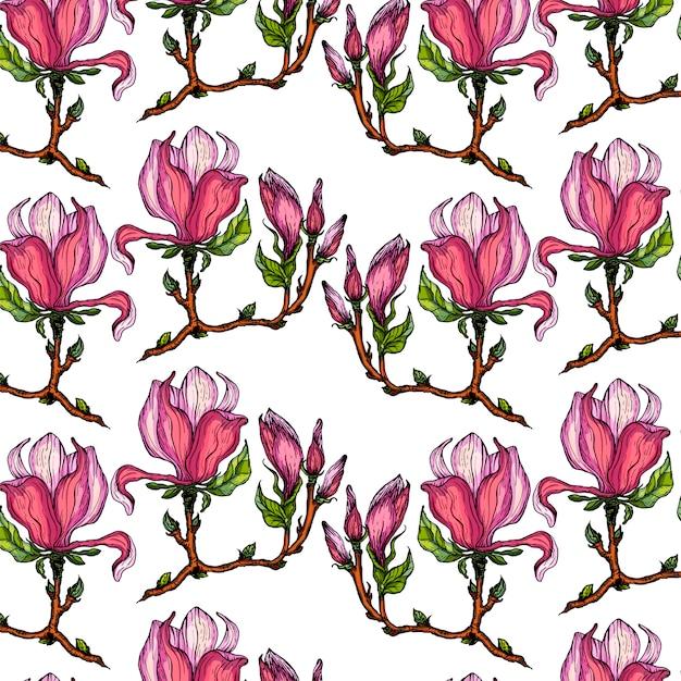 Vektornahtloser hintergrund mit magnolienblumen.