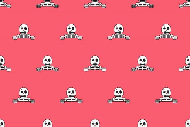 Vektornahtloser musterhintergrund des lustigen skeletts