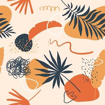 Vektornahtloses kreatives gekritzelmuster mit palmen- und bananenblättern pflanzt punkte gekritzelformen und -linien