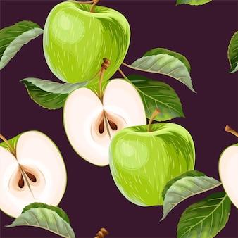 Vektornahtloses muster mit äpfeln und blättern