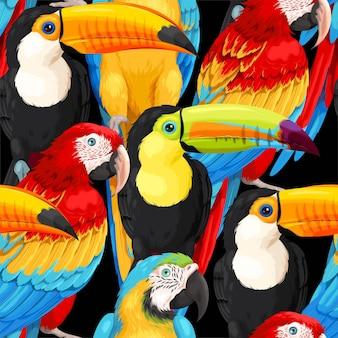 Vektornahtloses muster mit ara-papageien und tukanen