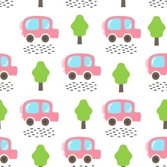 Vektornahtloses muster mit auto und bäumen