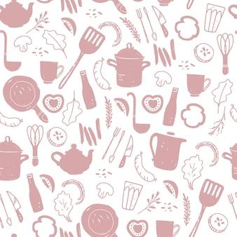 Vektornahtloses muster mit besteck- und küchengeschirrelementen