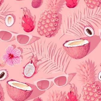 Vektornahtloses muster mit blumen und tropischen früchten auf rosa hintergrund