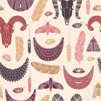 Vektornahtloses muster mit boho-illustrationen. böhmischer hintergrund im einfachen stil.