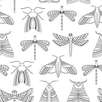 Vektornahtloses muster mit boho-motten und libellen. umrisse
