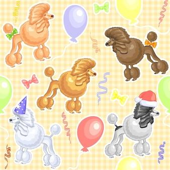 Vektornahtloses muster mit feiertagshunden