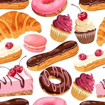 Vektornahtloses muster mit französischen süßigkeiten