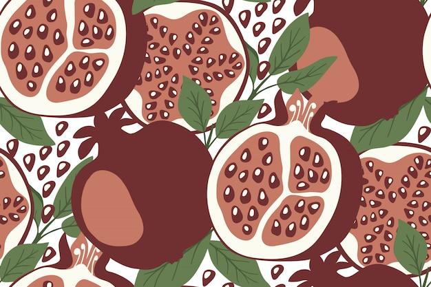 Vektornahtloses muster mit granatäpfeln.