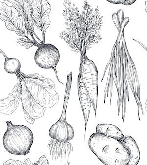 Vektornahtloses muster mit handgezeichnetem gemüse im skizzenstil bauernmarktprodukte