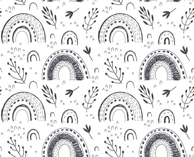 Vektornahtloses muster mit handgezeichnetem regenbogen und abstrakter textur