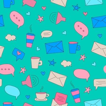 Vektornahtloses muster mit handgezeichneten sprechblasen und buchstaben-chat