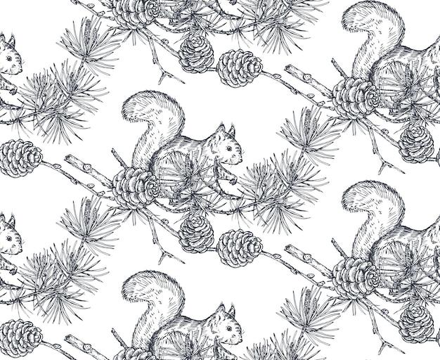 Vektornahtloses muster mit handgezeichneten waldtieren eichhörnchen und tannenzweigen und zapfen