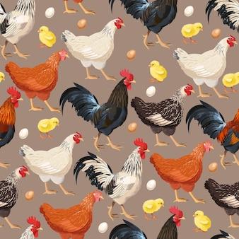 Vektornahtloses muster mit hühnern