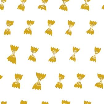Vektornahtloses muster mit italienischen teigwaren. farfalle hand gezeichneter hintergrund. kann für menü, etikett, verpackung verwendet werden.