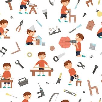 Vektornahtloses muster mit jungen, die tischler-, bau- oder holzarbeiten und werkzeuge tun. flacher lustiger kindercharakter, der hintergrund wiederholt. bastelstunde digitales papier