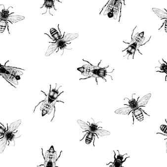Vektornahtloses muster mit kriechenden bienen. vintage-stil.
