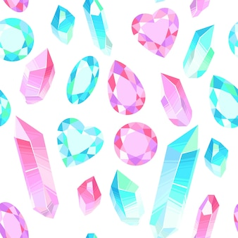 Vektornahtloses muster mit kristallen und edelsteinen