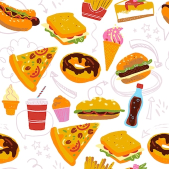 Vektornahtloses muster mit leckerer fast-food-illustration