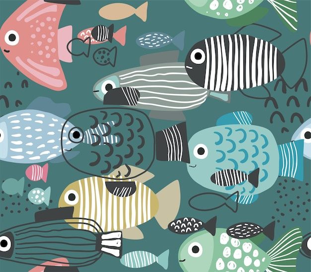 Vektornahtloses muster mit lustigen fischen im abstrakten stil