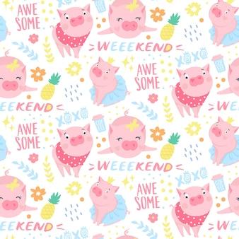 Vektornahtloses muster mit lustigen schweinen. elemente für das design des neuen jahres. symbol von 2019 im chinesischen kalender. schweinhintergrund getrennt auf weiß. cartoon-tiere für packpapier, karten, bettwäsche.