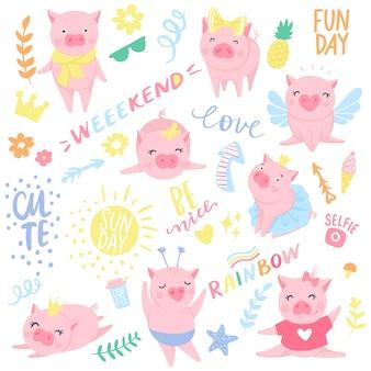 Vektornahtloses muster mit lustigen schweinen. symbol von 2019 im chinesischen kalender. schweinhintergrund getrennt auf weiß. cartoon-tiere für packpapier, karten, bettwäsche. kinderdesign.