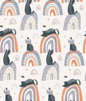 Vektornahtloses muster mit niedlichen katzen auf regenbogen im einfachen flachen stil