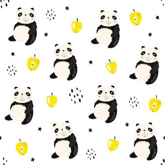 Vektornahtloses muster mit pandas