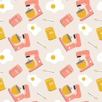 Vektornahtloses muster mit planetenmischer, eiern, kaffee und löffel. küchengeräte, utensilien, geschirr. flache illustration der karikatur für gewebe, gewebe, packpapier, tapete