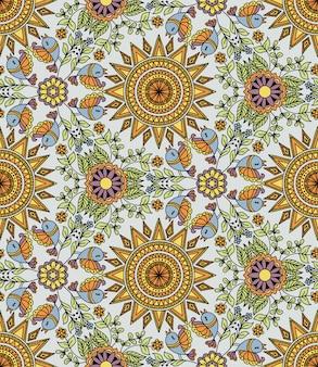 Vektornahtloses muster mit sonne und vögeln. kaleidoskop